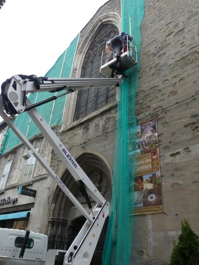 Pose des filets sur la 2ème facade des Carmes 1