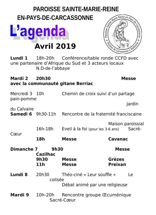 Agenda paroissiale avril 2019-1