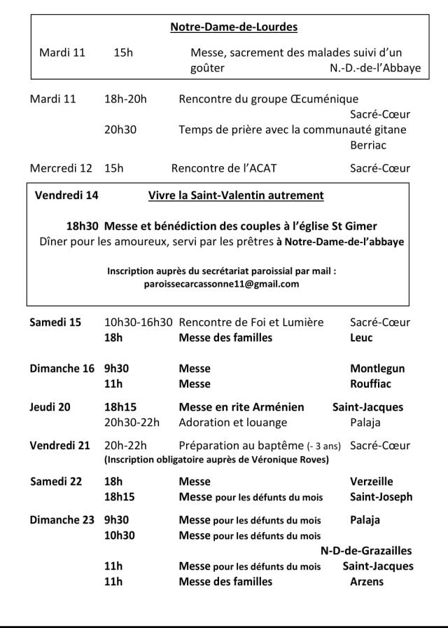 Agenda paroissial février 2020-2