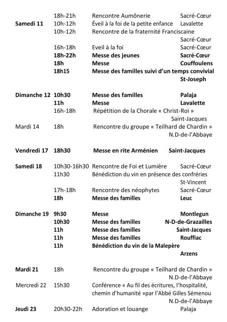 Agenda paroissial Janvier 2020-2