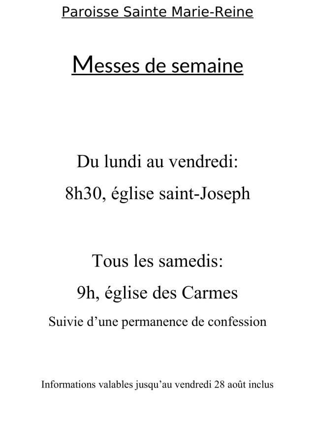Affiche MESSES DE SEMAINES juin 2020-1